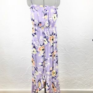 NWT OneClothing purple floral ruffled tulip dress